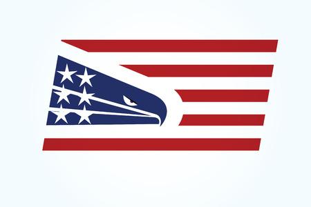 American eagle flag USA logo vector image template