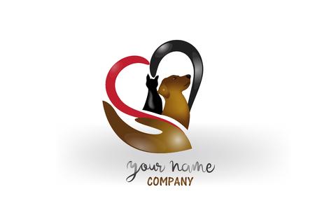 Image de carte d'identité de vecteur de logo de chien et de chat