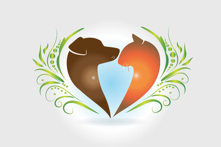 Dog and cat love heart shape logo vector Illustration