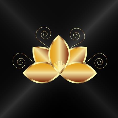 Logo gold lotus flower vector image template Ilustracja