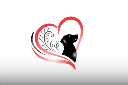 Dog logo floral heart love vector image silhouette icon