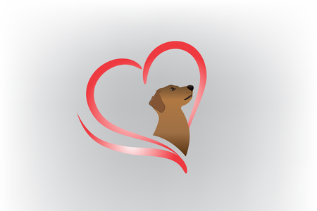 Dog logo love heart vector image silhouette icon