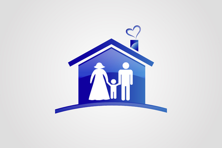 Family and house logo vector image template Illustration