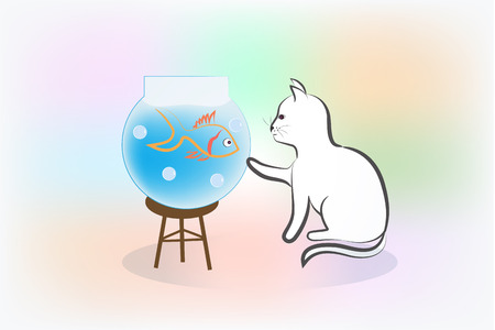 Cat and fish silhouette logo vector image template Vettoriali