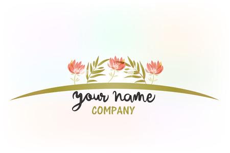 Flower decoration watercolor logo vector image template Illustration