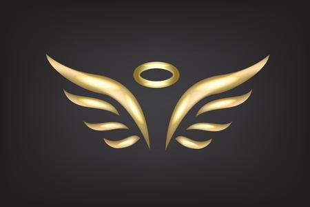 Croquis d'or du modèle de vecteur d'ailes d'ange