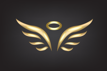 Gold sketch of angel wings vector template
