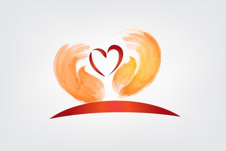 Love heart and children hands vector image Illustration