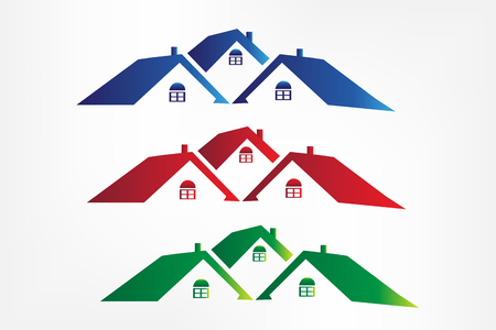 Set of colorful houses real estate vector image