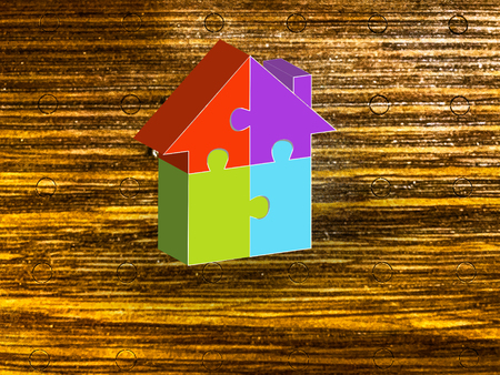 Real Estate Puzzle 3D house on wood