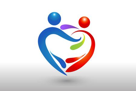Couple dancing logo vector image icon template Illustration