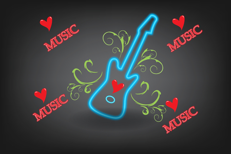 Guitar floral love music background picture