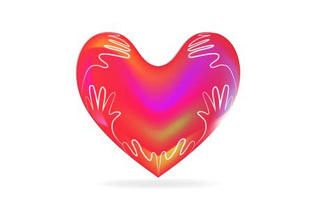 Love heart and children hands around logo vector image