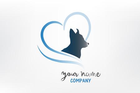 Logo dog love heart silhouette icon