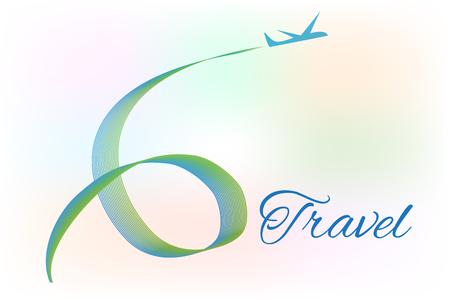 Travel airplane swirly motion symbol logo Illustration