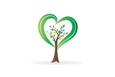 Árbol de logotipo con manos protectoras hojas icono de símbolo de personas de trabajo en equipo Logos