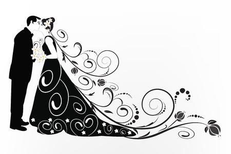 Vector de silueta de patrón de fondo de novia y novio Ilustración de vector
