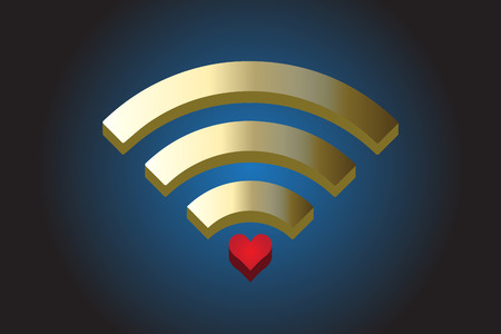 Wi-Fi with a red love heart symbol logo