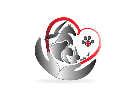 Logo fürsorgliche Haustiere Veterinär Visitenkarte Vektorbild