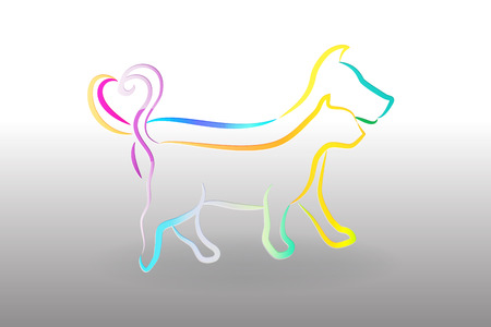 Logo colorful cat and dog icon vector image Иллюстрация