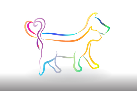 Logo colorful cat and dog icon vector image  イラスト・ベクター素材