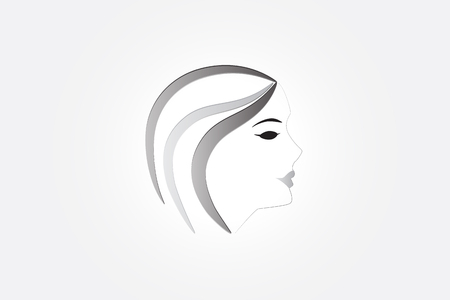 Pretty woman girl logo image vector icon design