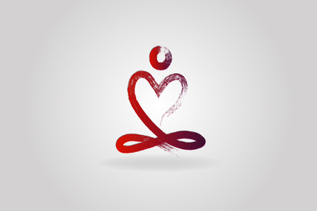 Yoga man love heart logo icon vector image