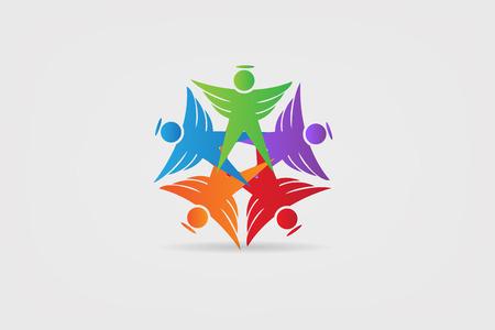 Logo angel teamwork unity people icon id business card symbol  イラスト・ベクター素材