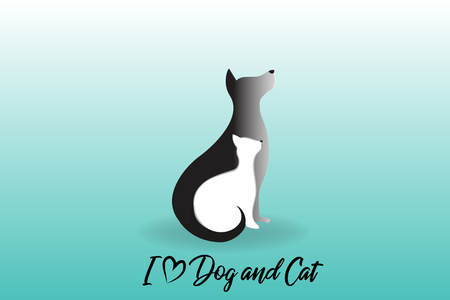Logo dog and cat silhouettes icon vector image