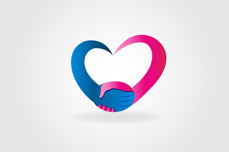 Logo handshake couple doing a love heart vector image Illustration