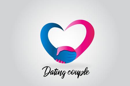 Logo handshake couple doing a love heart vector image Vettoriali