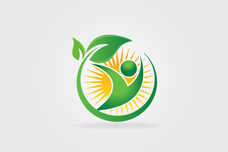 Logo health nature leafs with sun Иллюстрация