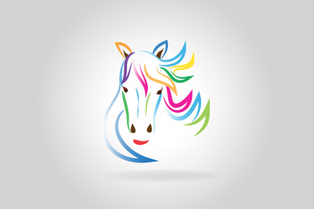 Logo beauty horse head colorful outline vector