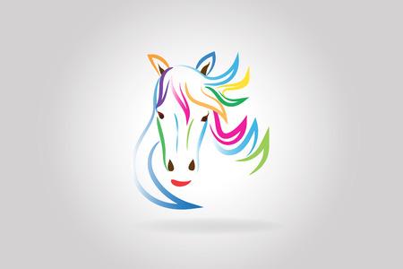 Vector de contorno colorido logo belleza cabeza de caballo