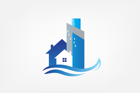 Karta nieruchomości logo nowoczesnych budynków mieszkalnych Logo