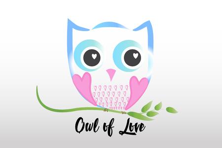 Owl of love logo vector image 일러스트