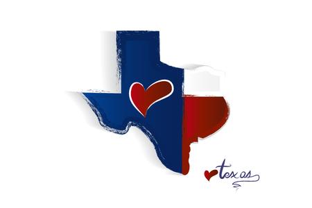 Texas map love heart logo vector illustration  イラスト・ベクター素材