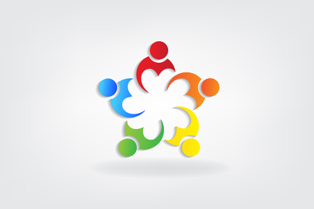 Logo teamwork love heart people icon vector