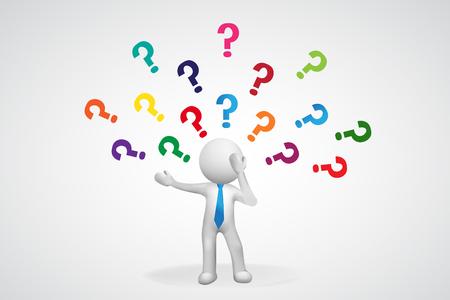 Fragezeichen. Gedankenmann - unentschlossen gestresst