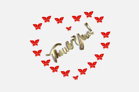 Thank you love heart butterflies card vector design
