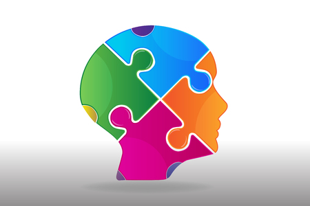 Logo woman face mind ,thought, problem puzzle vector