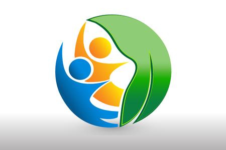 Logo health nature leaf people team id business vector design Logo