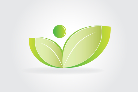 Logo health nature ecology leafs vector design