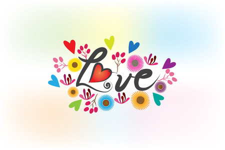 Love word made with flowers and hearts logo vector design