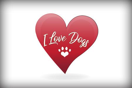 Paw dog love heart logo vector design Vettoriali