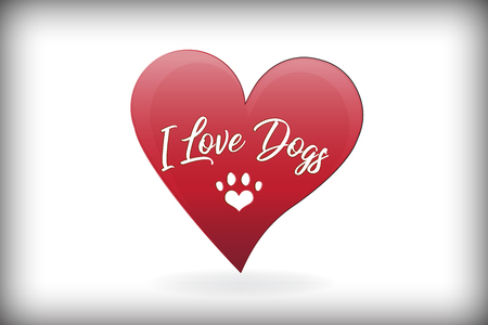 Paw dog love heart logo vector design Illustration