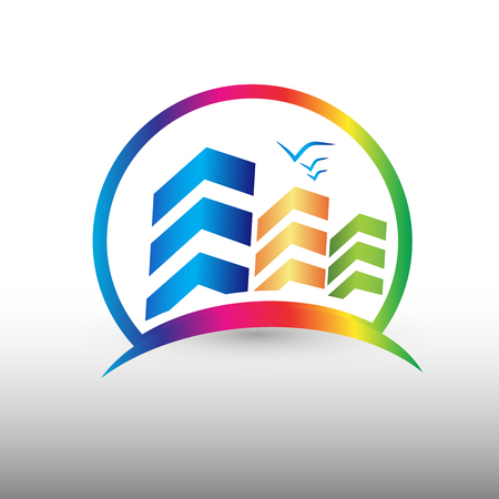 Buildings colorful logo vector