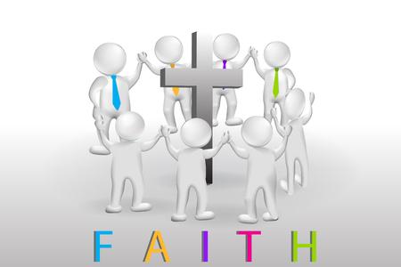 Travail d'équipe de petites personnes 3D. Logo vectoriel du concept de foi