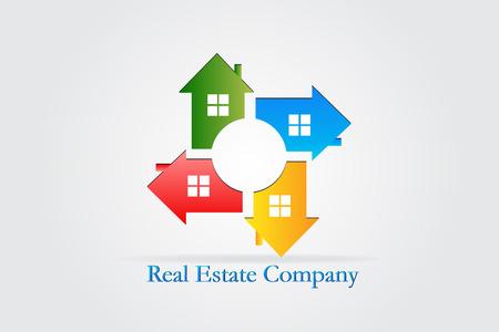 Logo Real estate houses teamwork id card vector Illustration