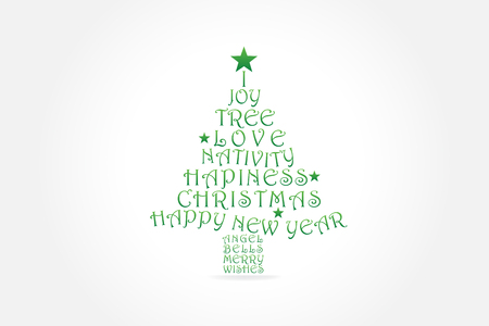Christmas tree greetings card vector image template